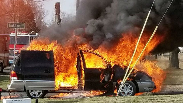 Photos: Van catches on fire in Wilbraham Friday afternoon