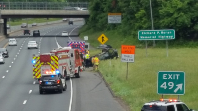 Rollover accident near Exit 49 in Enfield caused delays Wednesday