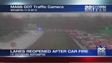 Car fire on I-91 South in Northampton causes traffic backup